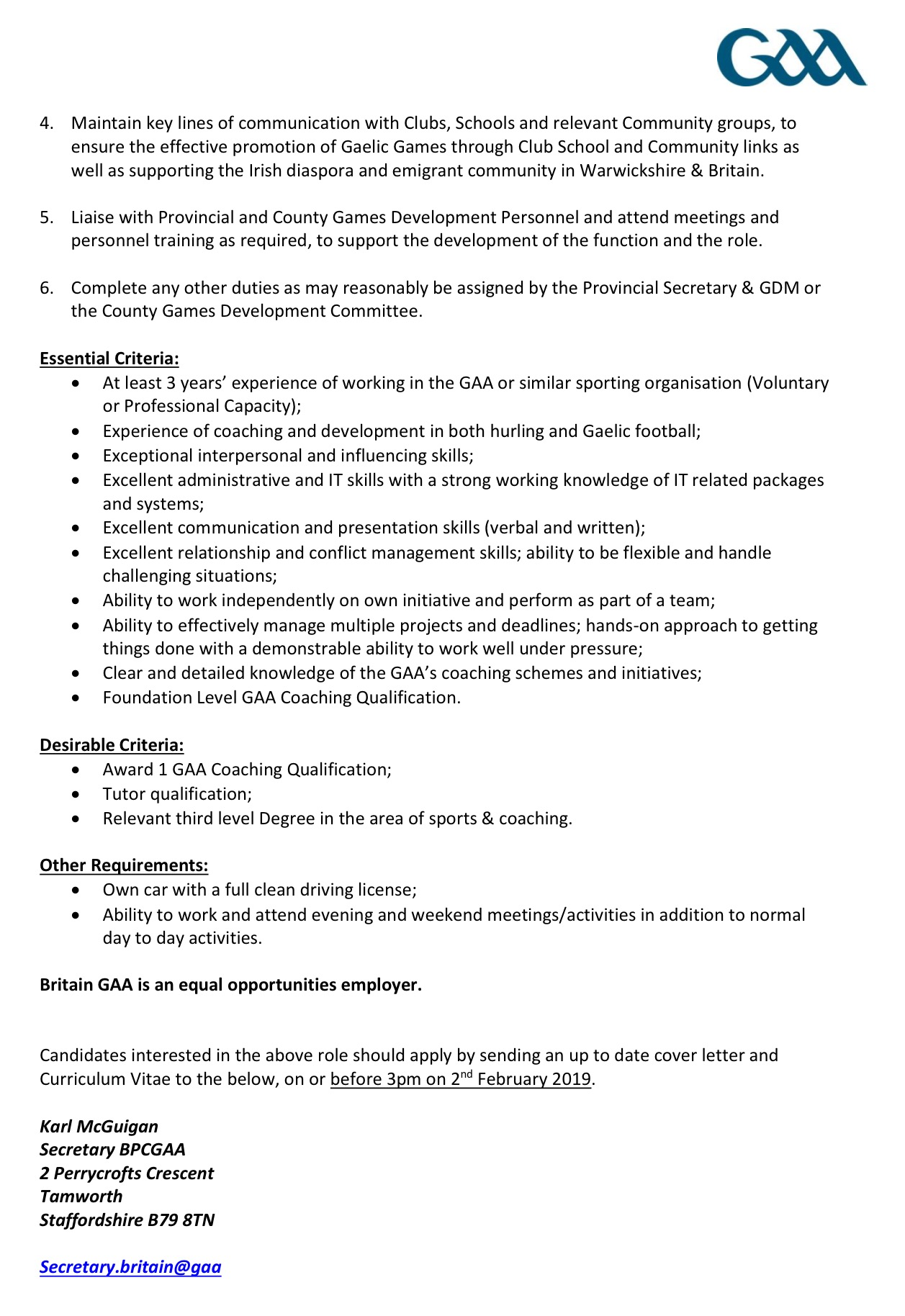 Warwickshire GAA are looking for a Community Development Administrator